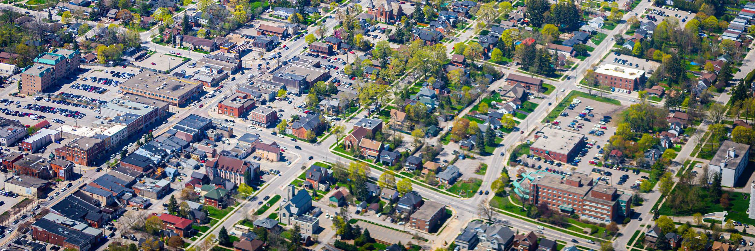 Aerial view of commercial buildings in Orangeville