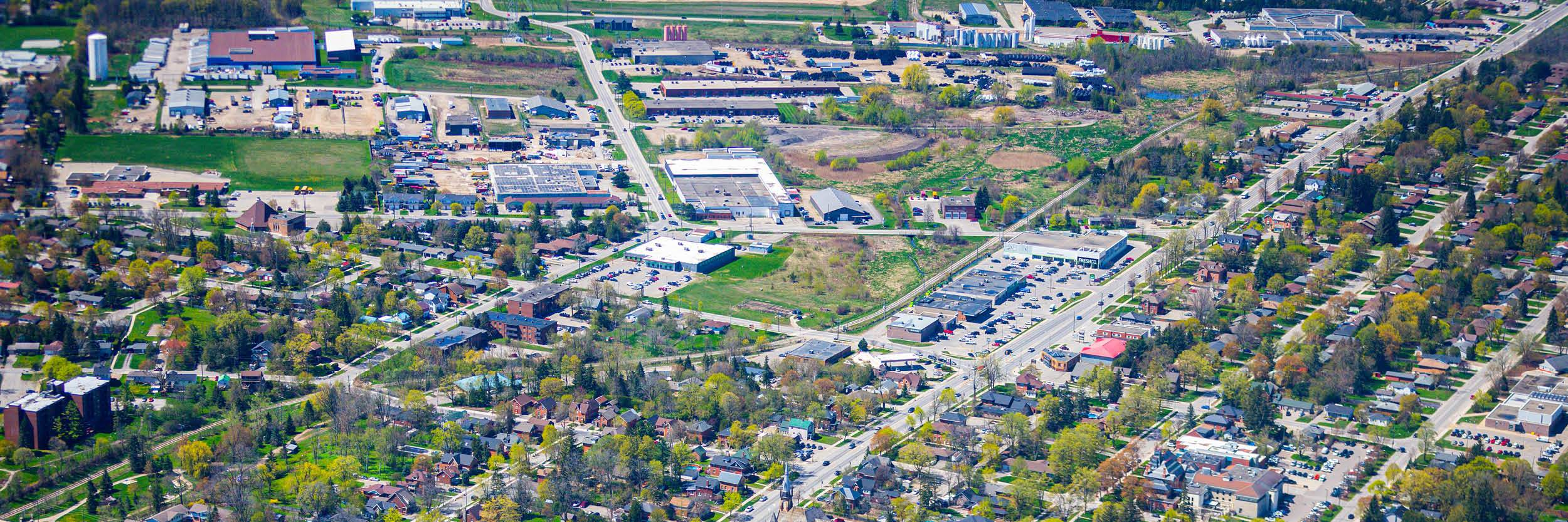 Aerial view of industrial buildings in Orangeville