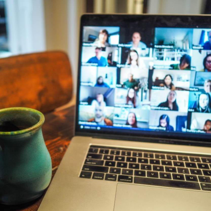 Computer screen with online meeting