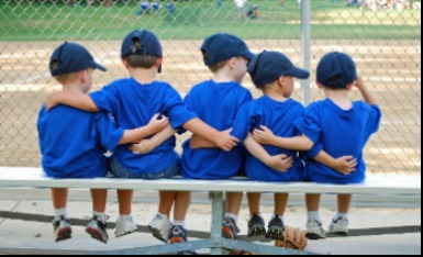 boys on baseball bench